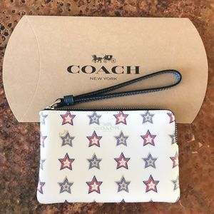 COACH Red & Blue Star Wristlet. New with tags.